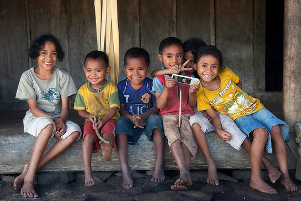 Kids at local village in Flores Island