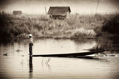 Floating atop Inle Lake